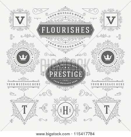 Vintage Vector Ornaments Decorations Design Elements. Flourishes calligraphic combinations Retro Log