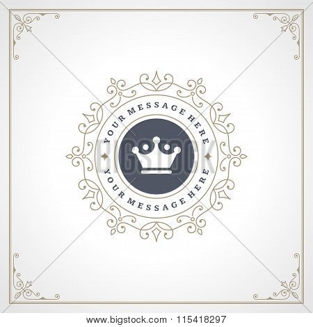 Royal Logo Design Template. Flourishes calligraphic elegant ornament lines.