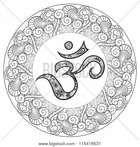 Om In Round Mandala