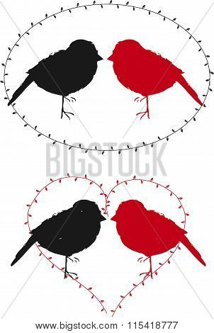 sparrows inside heart and round (logo,icon,vector)