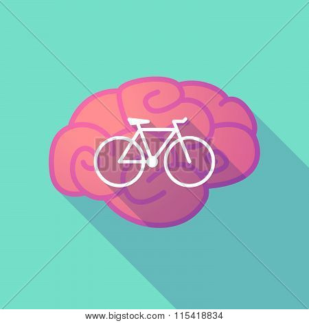 Long Shadow Brain With  A Bicycle