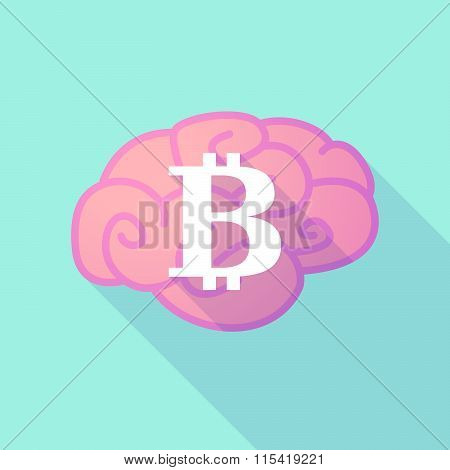 Long Shadow Brain With  A Bit Coin Sign