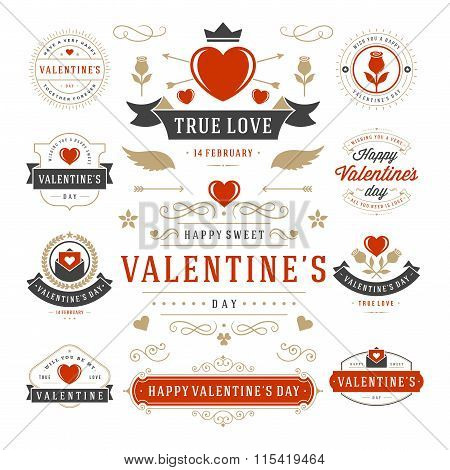 Valentine's Day Labels and Cards Set, Heart Icons Symbols, Greetings Cards, Silhouettes