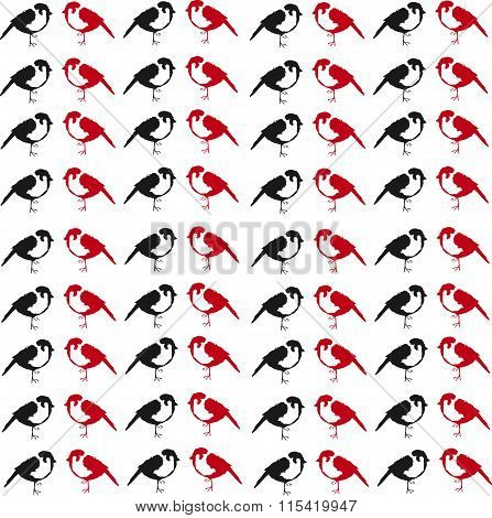 background from little red and black sparrows