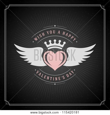 Valentine's Day greeting Card or Poster and Heart vector illustration