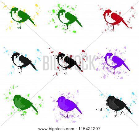 sparrow dripping teknique  (icon,logo,vector)
