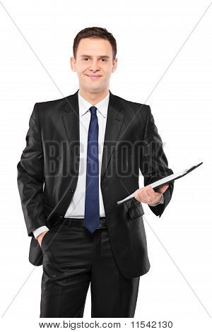 A Happy Businessperson Holding A Clipboard