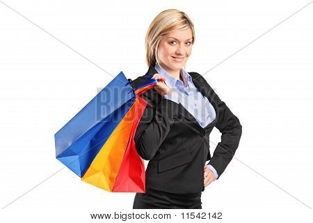 A Young Female With Shopping Bags
