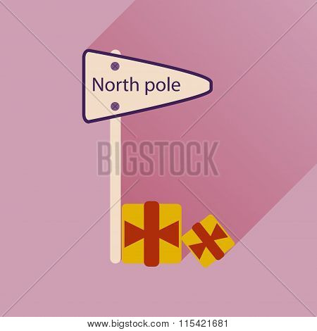 flat icon with long shadow North Pole