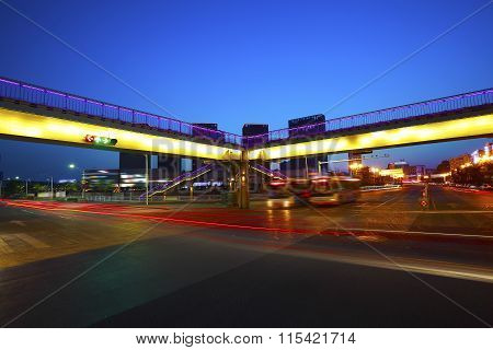 Urban Footbridge And Road Intersection Of Night Scene