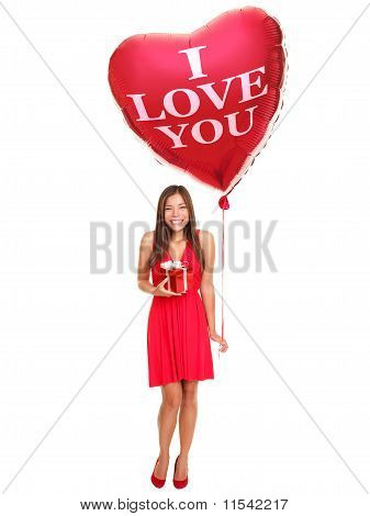 Love Woman With Balloon Gift