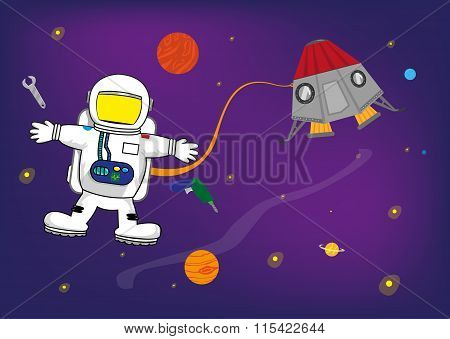 Astronaut Kid in Space with Personalized Helmet for Pictures of Kids. Template for Invitations and E