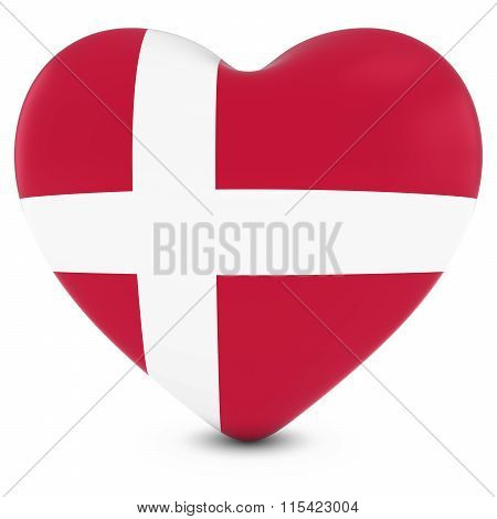 Love Denmark Concept Image - Heart Textured With Danish Flag
