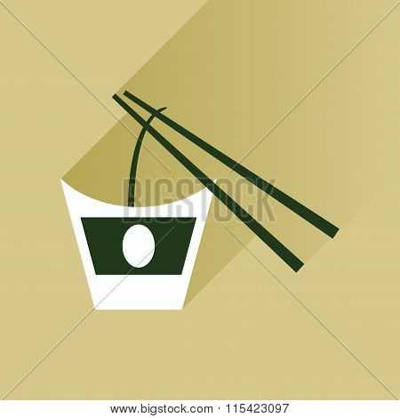 Flat with shadow Icon Chinese noodles sticks