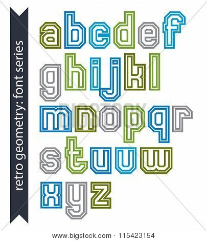 Double Lines Acute-angled Geometric Font With Outline, Colorful Lowercase Letters Best For Use In Po