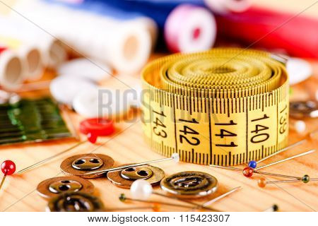 Tape Measure On Board With Other Accessories
