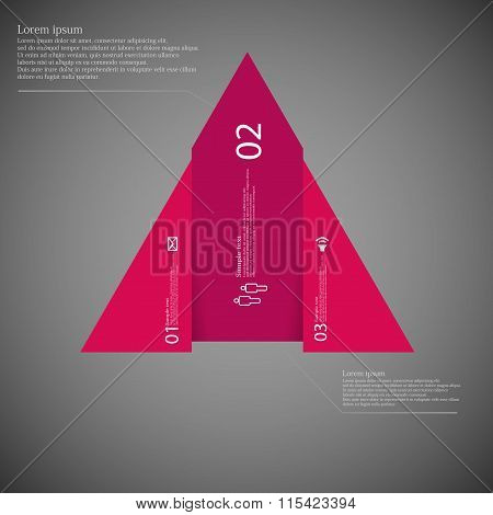 Infographic Template With Triangle Shape Divided To Three Red Parts