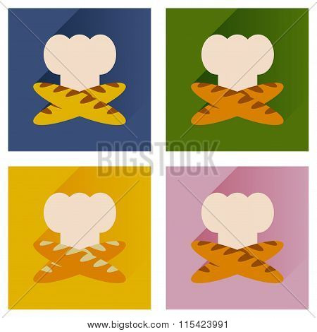 Vector set flat icons with chef hat and baguettes
