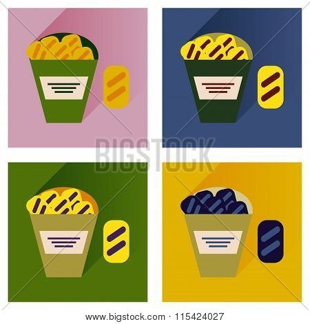 Vector set flat icons with long shadow snack crackers