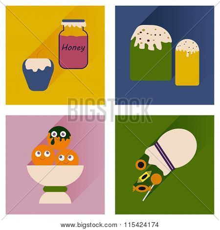 Vector set flat icons with long shadow sweet snacks