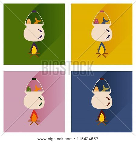 Vector set flat icons with long shadow fish soup fire