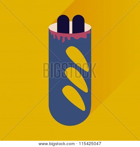 flat icon with long shadow hot dog sausage double