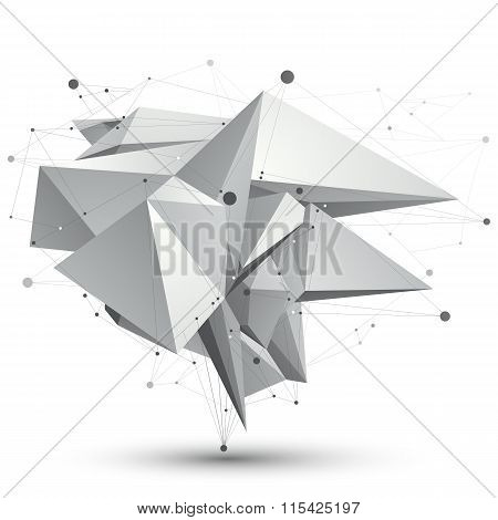 3D Mesh Modern Stylish Abstract Object, Origami Facet Structure Isolated On White Background.