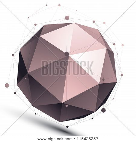 3D Mesh Modern Spherical Abstract Object, Origami Futuristic Symbol With Lines Mesh Isolated On Whit