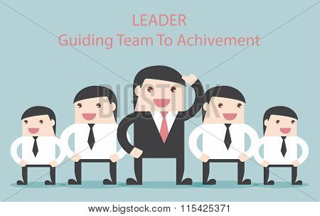 Business Leader Guide The Team To Achievement