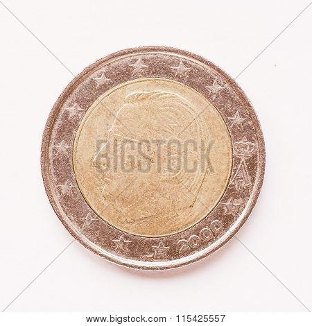 Belgian 2 Euro Coin Vintage