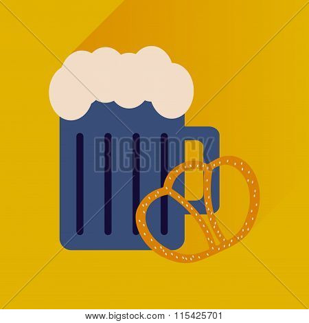 flat icon with long shadow glass beer and snack