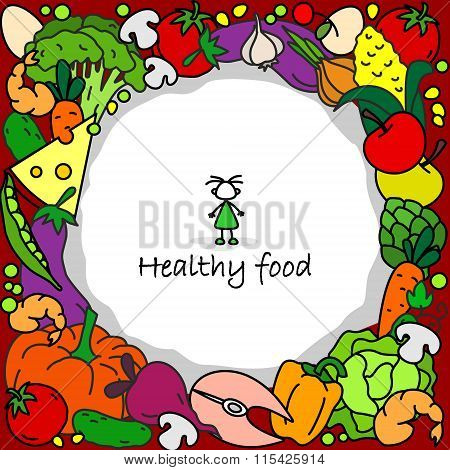 Healthy food in a circle