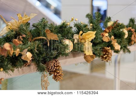 Christmas Decoration With Brunches Of Christmas Tree And Cone