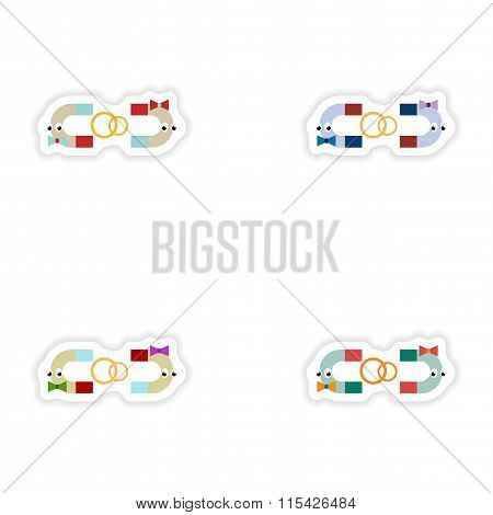 Set of paper stickers on white background romantic magnets