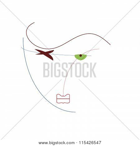Abstract  Of A Woman On A White Background