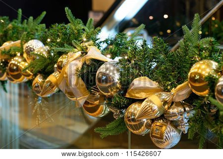 Christmas Decoration With Golden Colour Balls