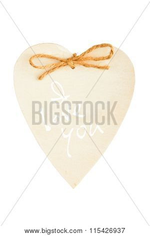 Painted Wooden Heart With Rope Isolated On White