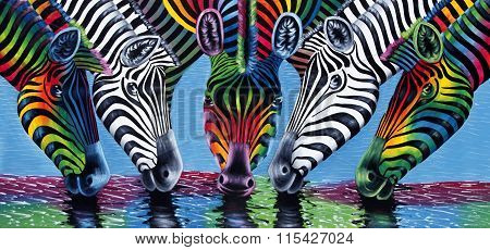 Painting Of Zebras