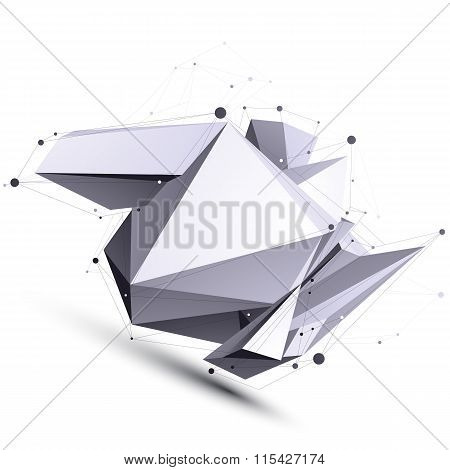 Spatial Vector Contrast Digital Object, Cybernetic Dimensional Technology Element With Wireframe.