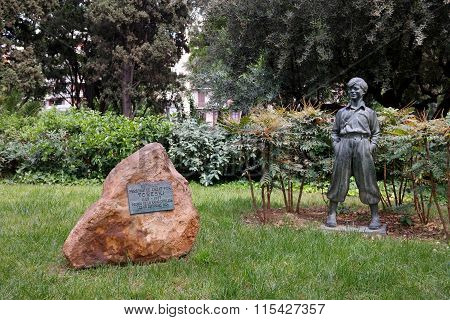 Barcelona, Spain - May 17, 2014: Monument Toreski. The Monument Is Located Near The Sagrada Familia.