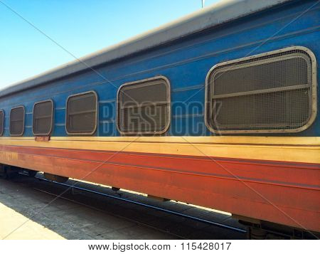 Railway carriage with grids on the windows