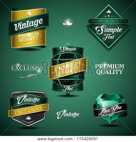 Vintage Emblem Emerald