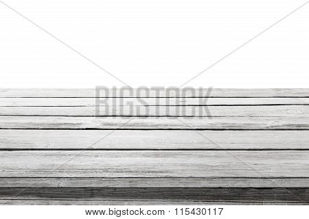 Wood Table Top On White Background, Wooden Desk Or Floor Planks