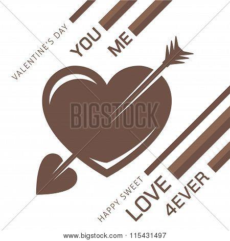 Love heart with an arrow for romantic design.