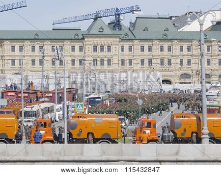Rehearsal Of Victory Parade, And Many Military