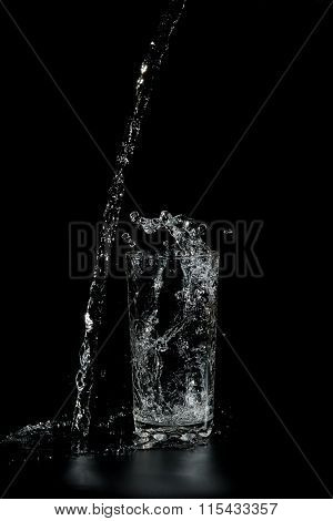 Clear Water Pours Into The A Glass Beaker