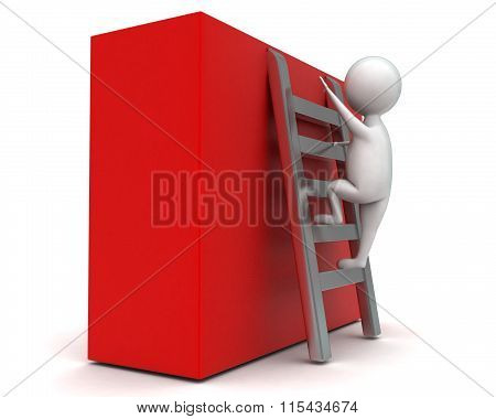 3D Man Climbing Stairs Upward Concept