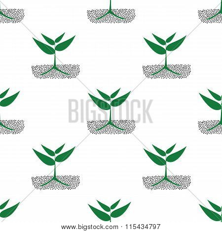 Growing Green Plants In Soil, Seamless Pattern.