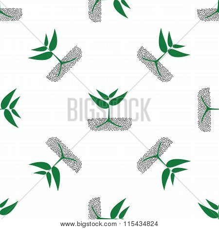 Growing Green Plants In Soil, Vector.