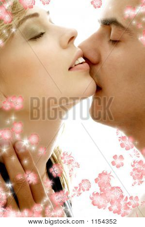 Gentle Kiss With Flowers